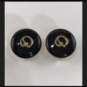 St. John Black Enamel Earrings Clip On Gold